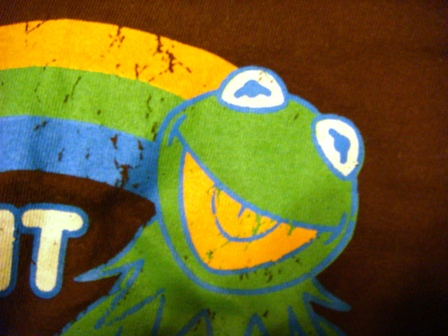 Tシャツにプリントされてるカエルのカーミットをサイバーショット(cyber-shot)DSC-T100で撮影。顔キメききません。