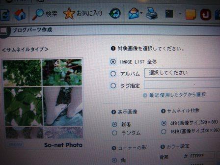 so-net photoのブログパーツ作成管理画面。ソニーサイバーショット(sony_cyber-shot)DSC-T100で撮影